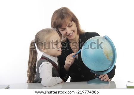 little pupil and teacher  - stock photo