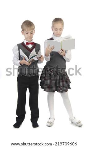 little pupils on isolated white background - stock photo