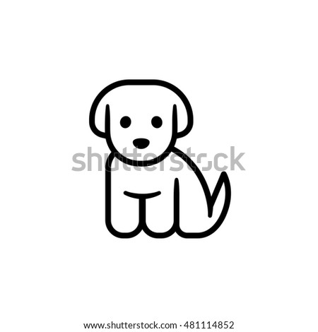 simple cute cartoon dog illustration vet or pet shop logo - Simple Cartoon Pics