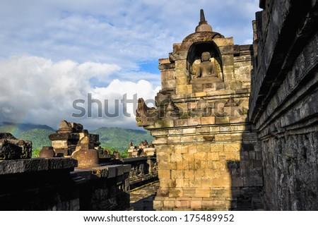 little rainbow Buddist temple Borobudur complex in Yogjakarta in Java, indonesia - stock photo