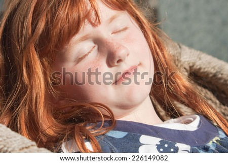 little red haired girl  - stock photo