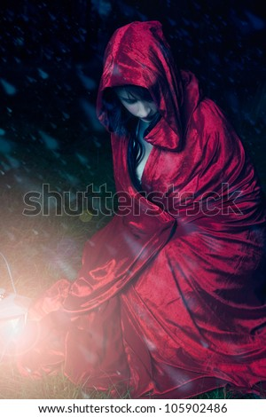 Little red riding hood caught in a snow storm - stock photo