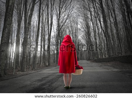 little red riding hood lost in the forest  - stock photo