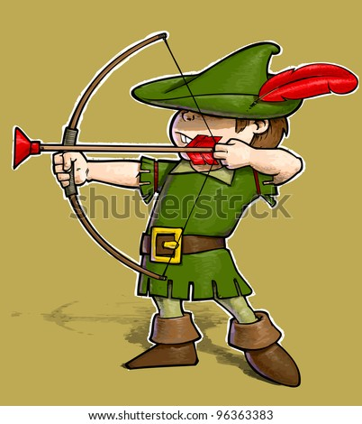 Little Robin Hood on Solid Background. No gradient half-toning for easy Background Removal.