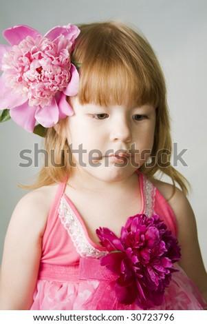 Little Girl Holding Teddy Bear Flower And Pacifier High