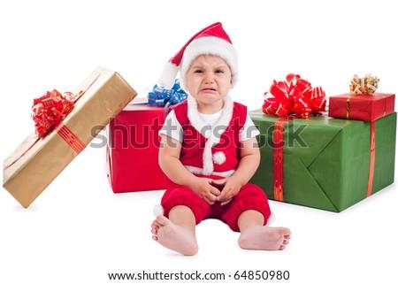 little sad santa - stock photo