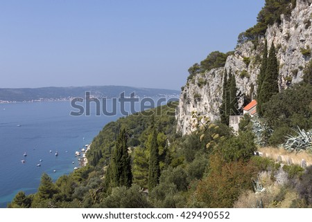 Little Saint Jerome church under Marjan cliffs in split Croatia - stock photo