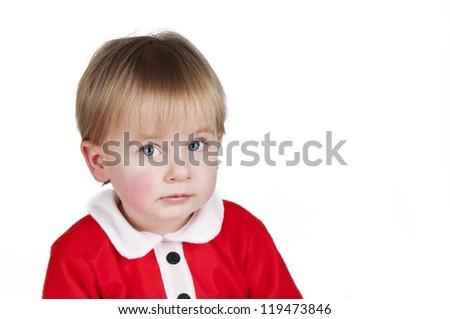 Little Santa Christmas boy isolated on white background - stock photo