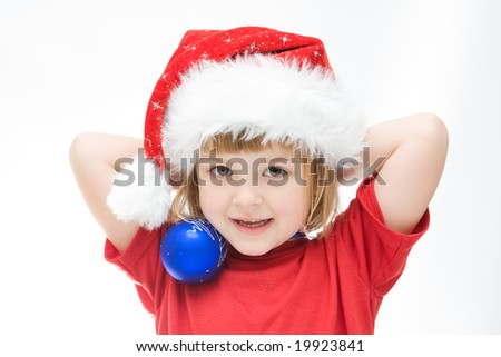 little Santa girl and Christmas baubles, on white