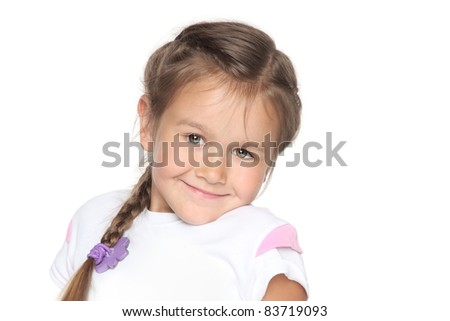 Little school girl on white background