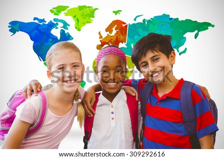 Little school kids in school corridor against white background with vignette - stock photo