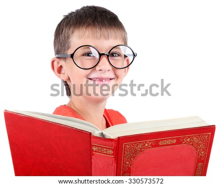Little schoolboy with book isolated on white