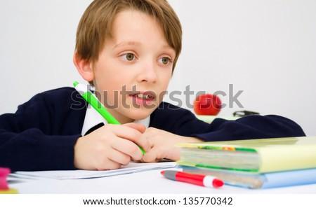 Little schoolboy writing homework from school in workbook - stock photo
