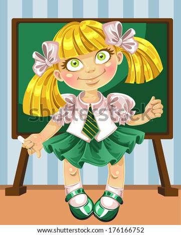 Little schoolgirl at the board - stock photo