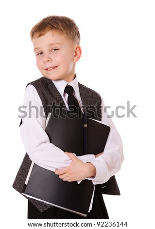 little serious businessman portrait isolated on white