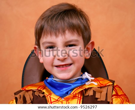 Little sheriff making a goofy face - stock photo