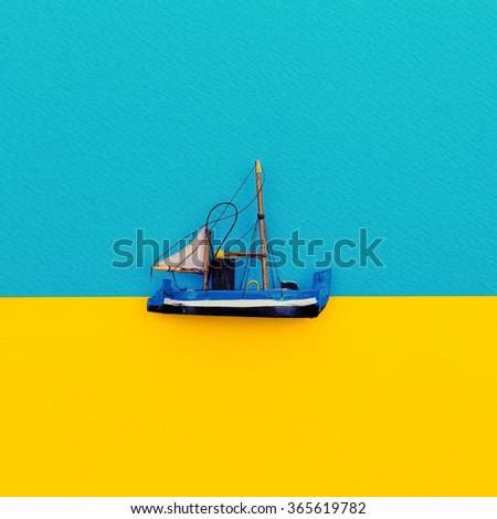Little Ship. Minimal style design. - stock photo
