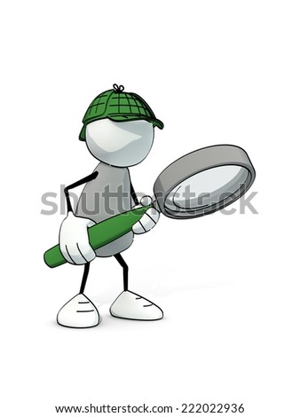 little sketchy man as detective searching with magnifier - stock photo
