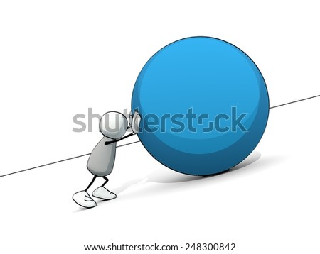 little sketchy man as sisyphus rolling a big blue ball up the hill - stock photo