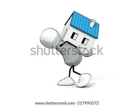 little sketchy man carrying a house at his back - stock photo
