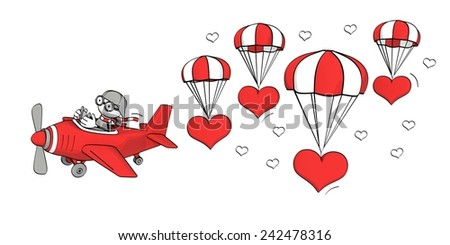 little sketchy man flying in a red plane and hearts with parachute - stock photo