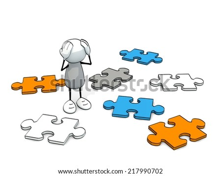 little sketchy man helpless with colored pieces of a puzzle - stock photo