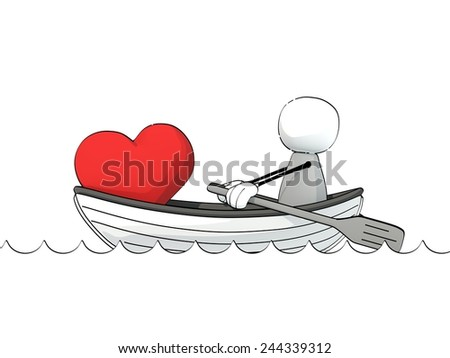 little sketchy man in a rowboat with a big red heart - stock photo