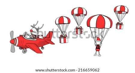 little sketchy man - reindeer in plane and santa with parachute - stock photo