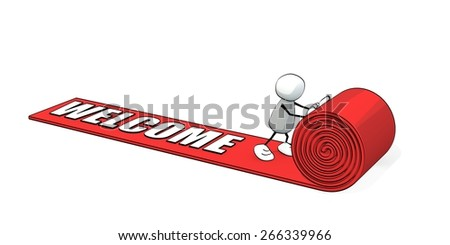 little sketchy man rolling out a red carpet - welcome - stock photo