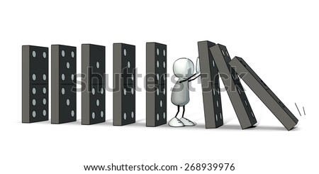 little sketchy man stopping a domino - stock photo
