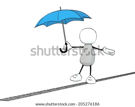 little sketchy man with a blue umbrella balancing on a rope - stock photo