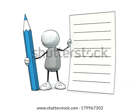 little sketchy man with blue pencil notepad - stock photo