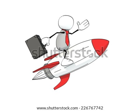 little sketchy man with briefcase and red tie flying on a rocket - stock photo