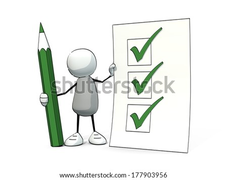 little sketchy man with green pencil and check list - stock photo