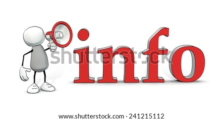little sketchy man with megaphone and the word info - stock photo