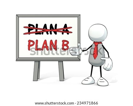 little sketchy man with red tie and board: plan A - plan B - stock photo