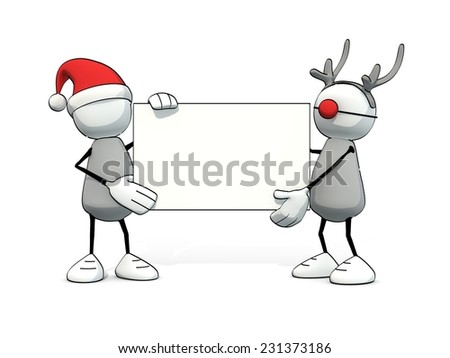 little sketchy man with santa hat and reindeer with blank card - stock photo