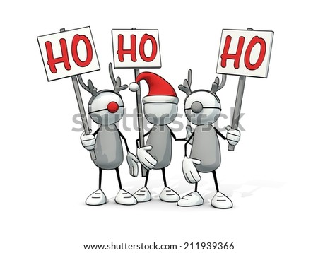 little sketchy man with santa hat and two reindeers with Ho signs - stock photo