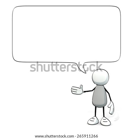 little sketchy man with speech balloon - stock photo