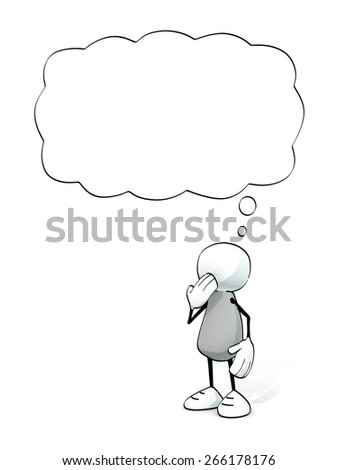 little sketchy man with thought balloon - stock photo