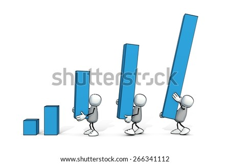 little sketchy men building up a positive bar chart - stock photo