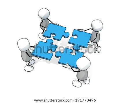 little sketchy men doing a blue jigsaw - stock photo