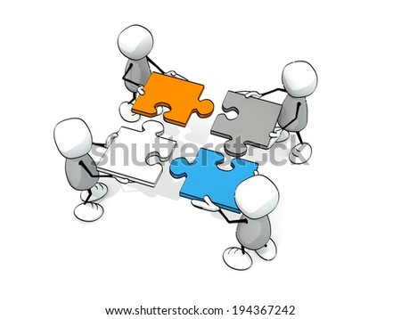 little sketchy men doing a jigsaw - stock photo