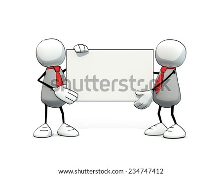 little sketchy men with red tie and blank card - stock photo