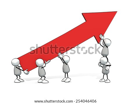 little sketchy men with red upwards arrow - stock photo