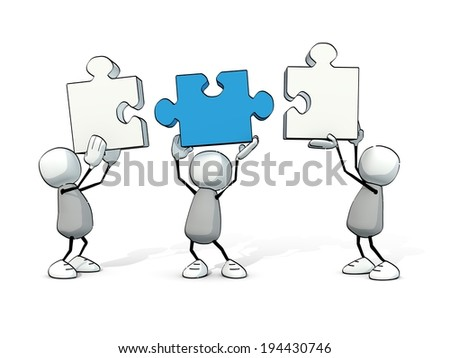 little sketchy men with white and blue  pieces of puzzle - stock photo