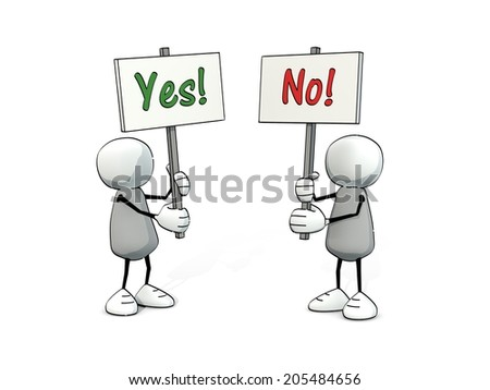 little sketchy men with yes and no sign - stock photo