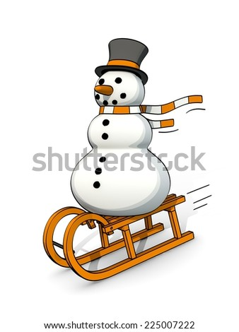 little sketchy snowman riding on a sledge - stock photo