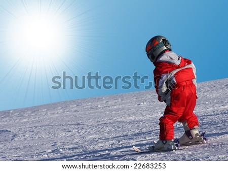 Little skier - stock photo