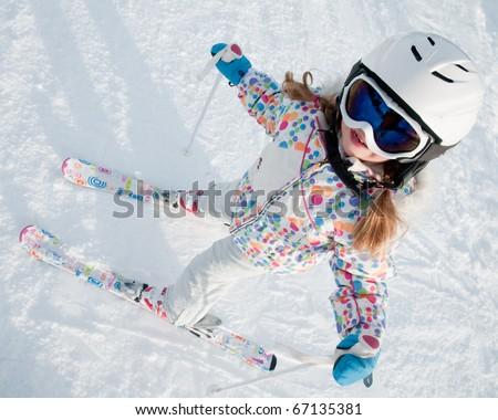 Little skier portrait - stock photo